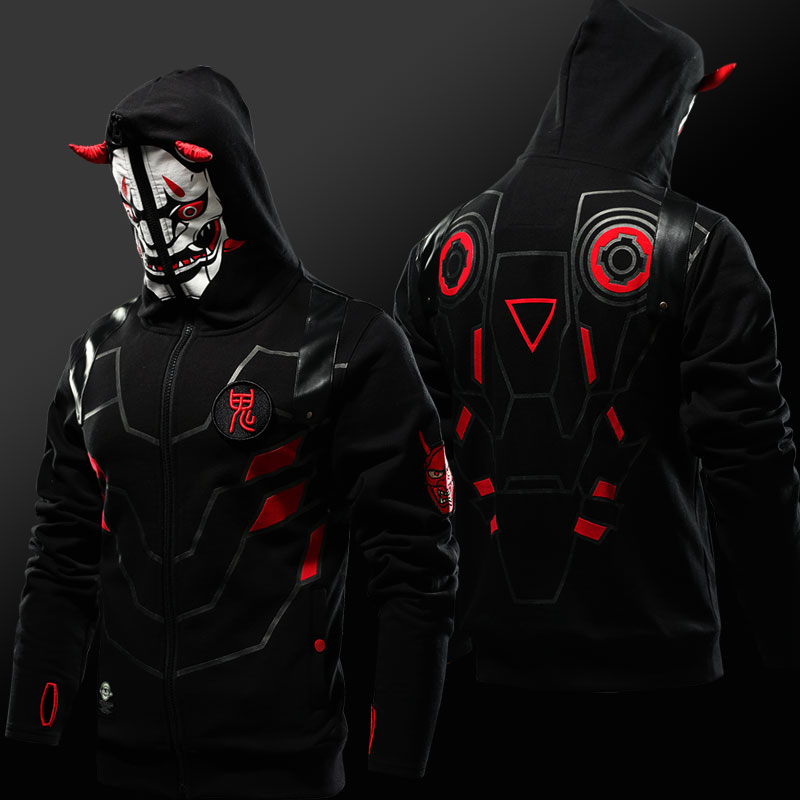 Quality Limited Edition Oni Genji Skin Mask Hoodie OW Game Thumb Holes Sweatshirt For Men Full Zip Black OW Cosplay Hoodies 4XL
