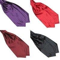 Fashion Polka Dot Men Long Silk Cravat Ascot Ties Handkerchief Gentlemen 1
