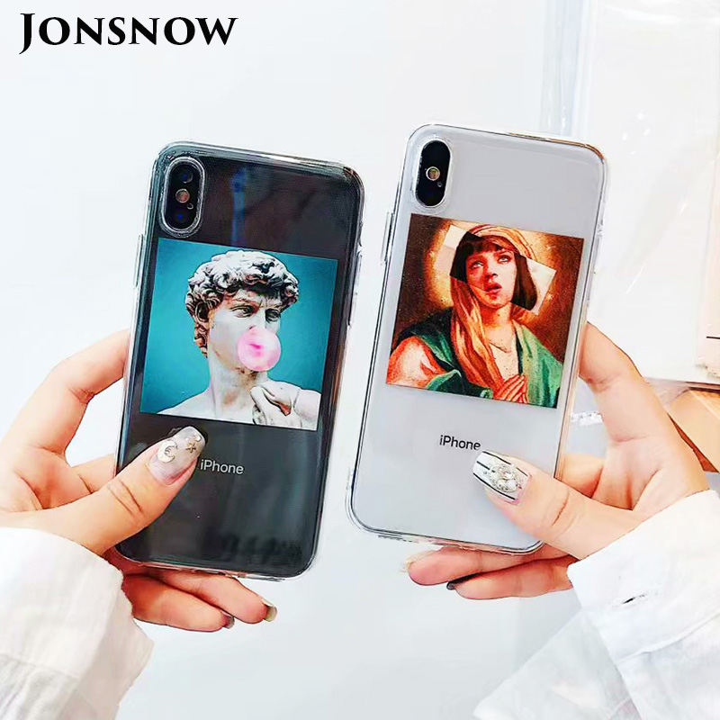 KIPX1092_1_JONSNOW Clear Soft Case For iPhone 6S 7 8 Plus X XR XS Max Artistic Picture Design Ultra-thin Transparent Silicone Back Cover Capa