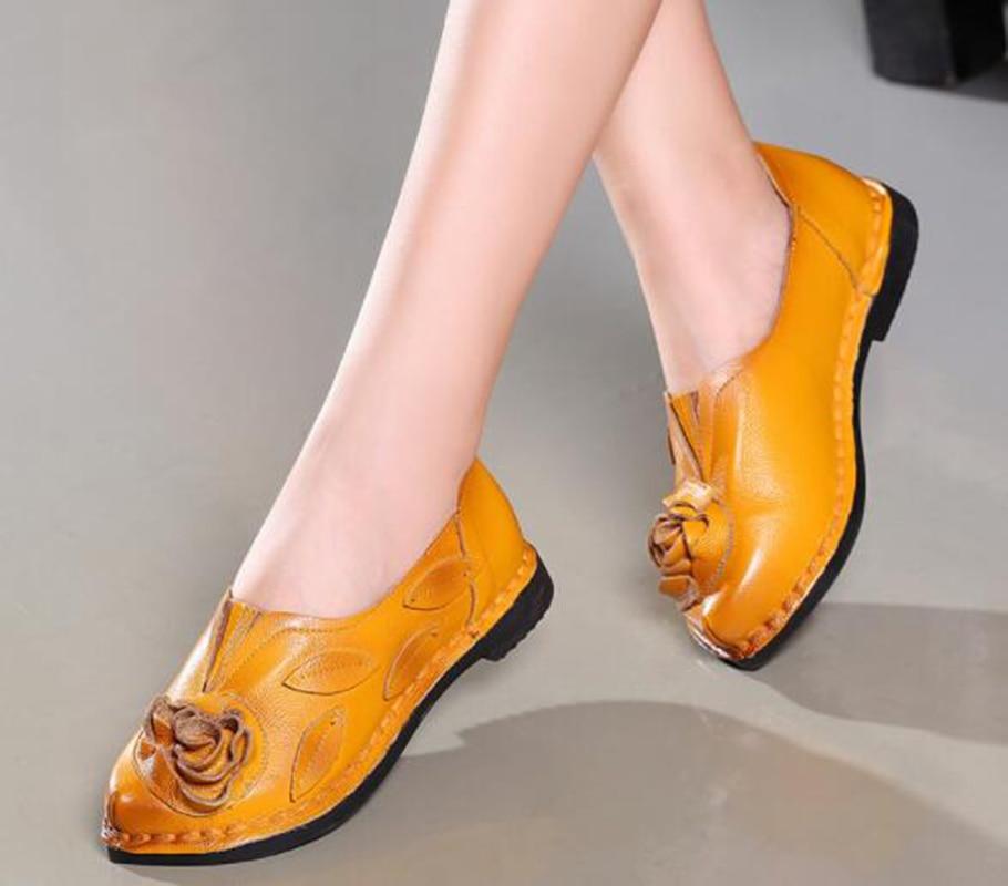 Cuir Danse À Chaussures Brodé yellow Mère De Black Fond Femelle Plat Simples En Ethnique Rétro Main red Style 8qRtwC8