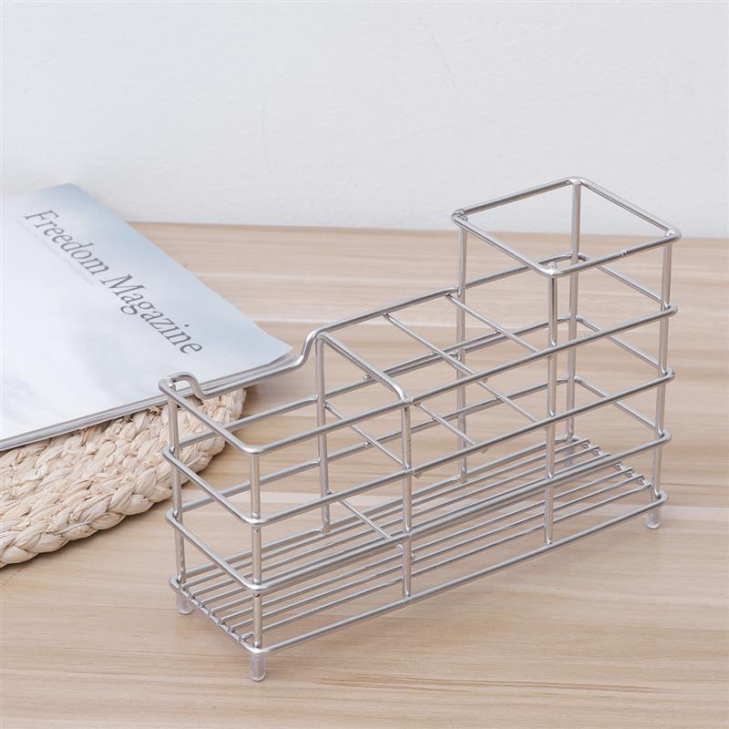 Image 5 - 1 PC Punch Free Grid Toothbrush Holder Stainless Steel Toothpaste Stand Organizer Bathroom Storage Rack For Home Hotel Use-in Toothbrush & Toothpaste Holders from Home & Garden