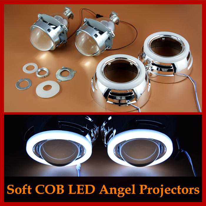 Car Styling Retrofit Soft-Light COB LED Angel Eyes Halo 3.0 Pro HID Bi xenon Headlight Projector Lens H1 H4 H7 Headlamp  car styling automobiles 3 0 metal bi xenon hid lens with led cob drl angel eyes for projector headlight h1 h4 h7