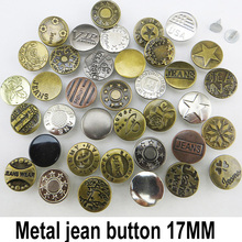 20PCS 17MM MIXED metal jeans button sewing clothes accessories JMB-079