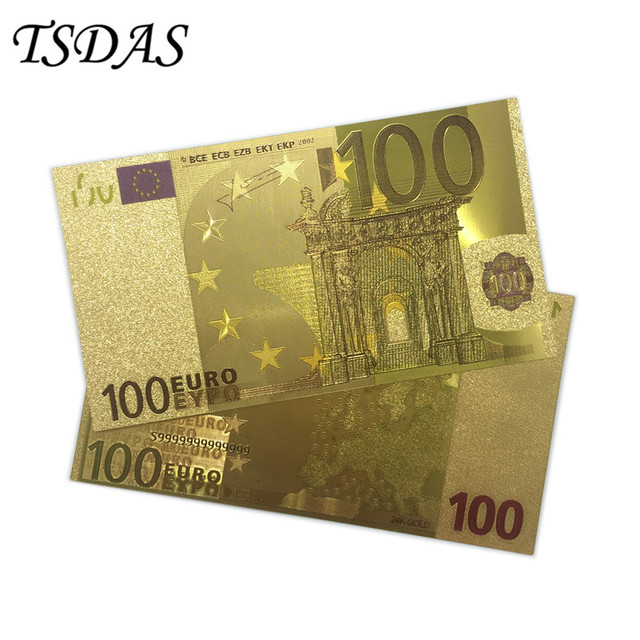 Europe Colorful Gold Banknotes 100 Euro Gold Foil Banknote Euro Collection Notes