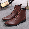 Brown Men Ankle Boots Autumn Winter Genuine Leather Botas Hombre Pointed Toe Lace Up Mens Cowboy Military Boots Creepers