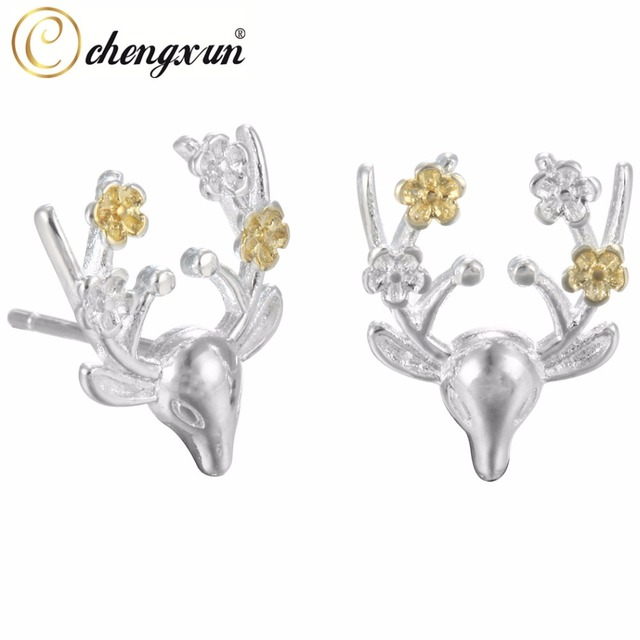 6d06b2833 CHENGXUN 1 Pair Silver Tiny Deer Head Stud Earrings Gold Flower Antler  Earrings For Women Chrismas Party