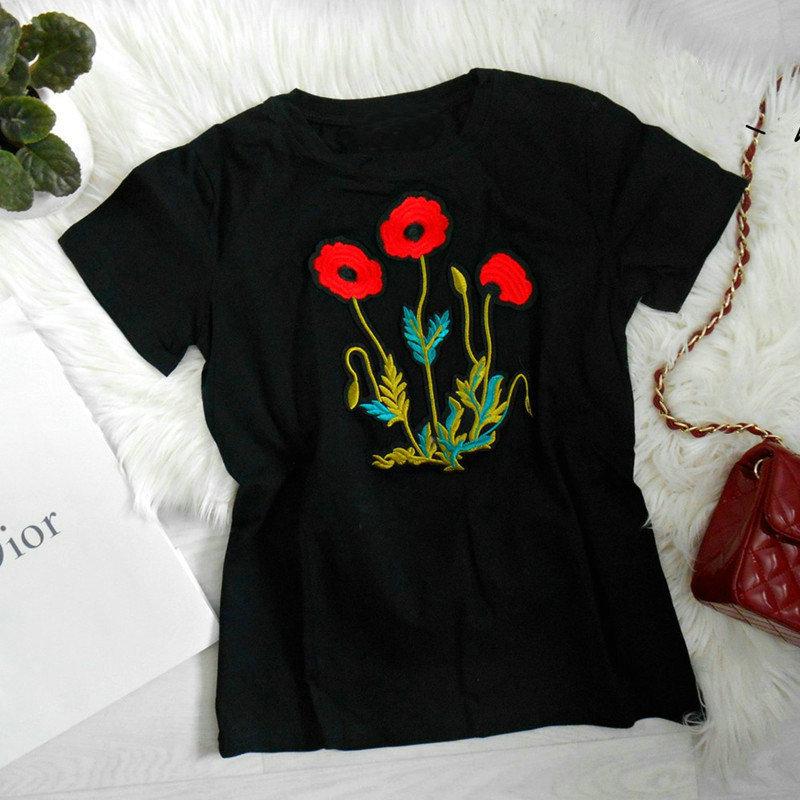 Camiseta Tops de Las Mujeres 2017 Nuevo Narciso Flores Bordado Pantalones Cortos