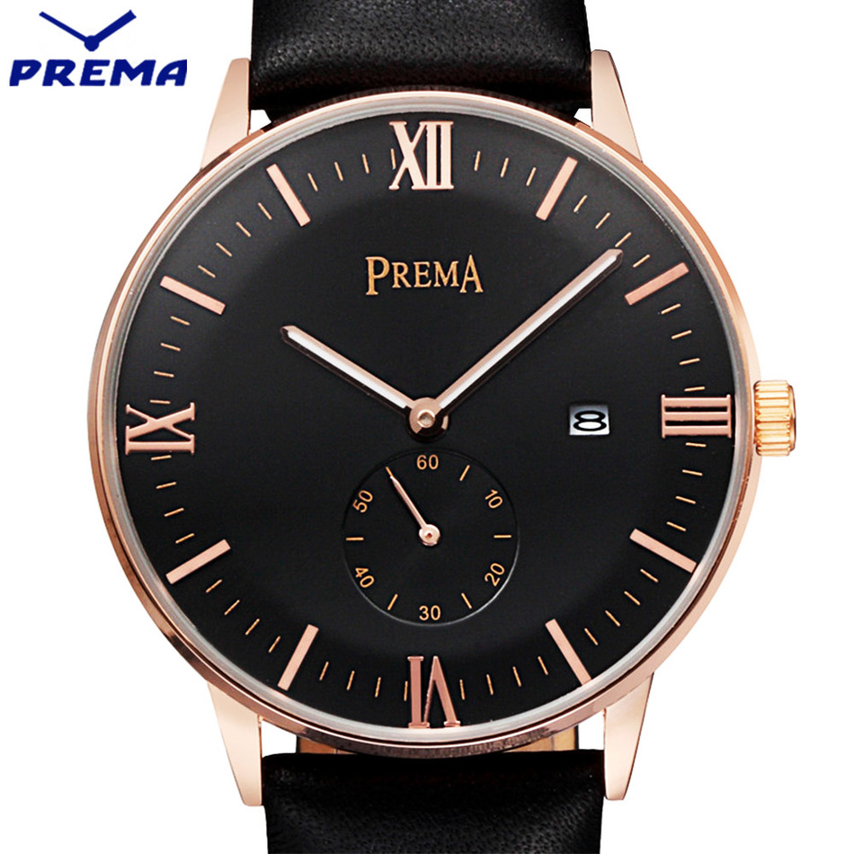 PREMA Brand Luxury Simple Watch Men 30M Waterproof Ultra Thin Calendar Clock Male Leather Band Casual Quartz Sports Wrist Watch ultra thin watch male student korean version of the simple fashion trend fashion watch waterproof leather watch men s watch quar
