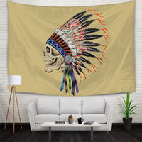 Indoor Decor Printed Skull Chief Tapestry Wall Hanging Colorful Feather Tapestries Bed Background Polyester Banner 150x210cm