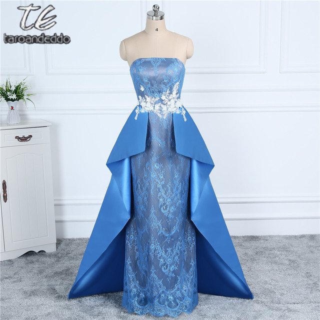 Strapless White 3D Flowers Applique with Diamond Blue Prom Dress ...