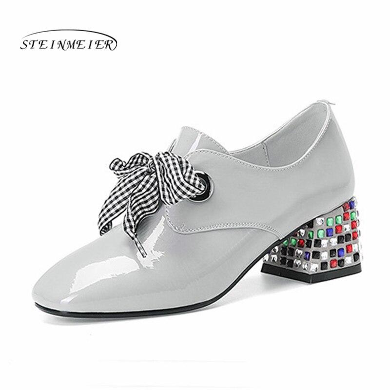 Femmes 2019 Chaussures Femme Printemps Talon gray Bout Épais Véritable Cuir En Light Pompes Mode Purple De Carré Hauts D'été Talons Lacets rpqwFrg