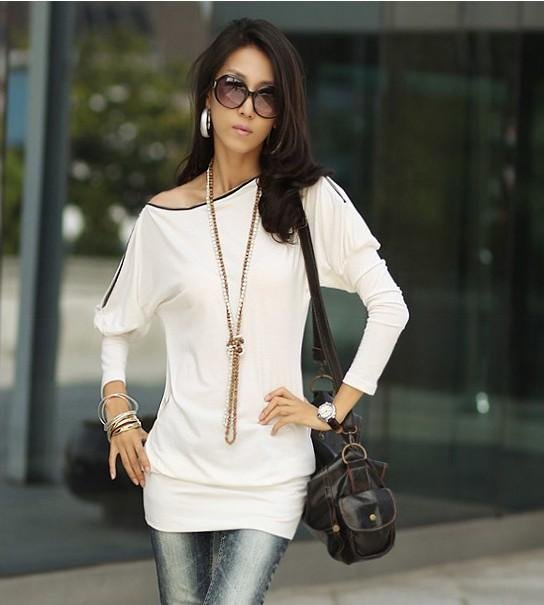 free shipping cotton zipper long style slim t shirt tops for women 4 colors hot sale
