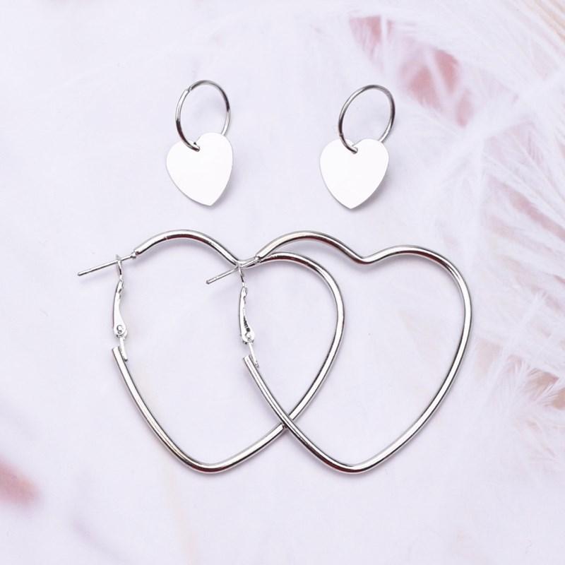 EK118 2Pais Двойное сердце серьги-кольца для женщин Висячие, геометрической формы серьги Женская мода современные ювелирные изделия Oorbellen аксессуары - Окраска металла: Silver