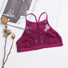 Fashion Sexy Bras Tops Adjustable Strape Nylon Women Lingerie Comfortable Lace Bralette Ultra Thin High Neck Ladies Underwear