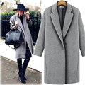 2017 Long Style Turn Down Collar Woman Woolen Jacket Coat S-XL Plus Size Female Cashmere Overcoat Clothes One Buttom Coat Casaco