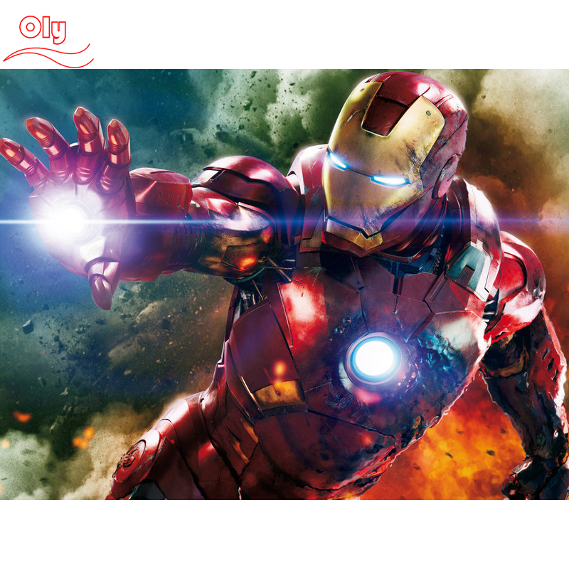 100% Full 5D Diy Daimond Målning Iron Man 3D Diamond Painting Round Rhinestones Full Diamant Painting Broderi