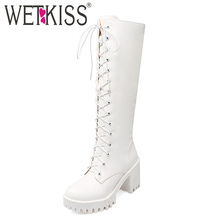 WETKISS Size 34-43 Front Cross tie Women Boots Add Fur Winter Knee Boots Thick High Heels Rubber Skid Proof Platform Shoes Woman