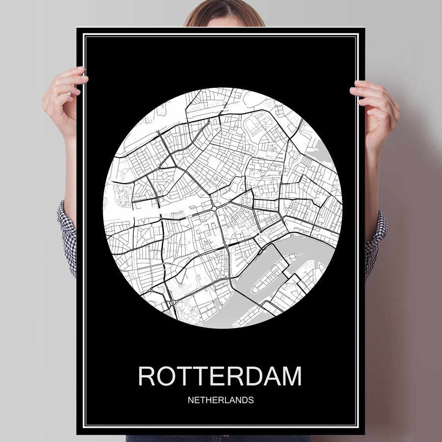 Black White City Map of ROTTERDAM Netherlands Print Poster Print on Paper or Canvas Wall Sticker Bar Cafe Living Room Home Decor