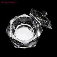 1 шт большой шестиугольник Хрустальный двусторонний блюдо чаша с Крышка Для акриловый порошок и жидкий акрил для дизайна ногтей прозрачный ...