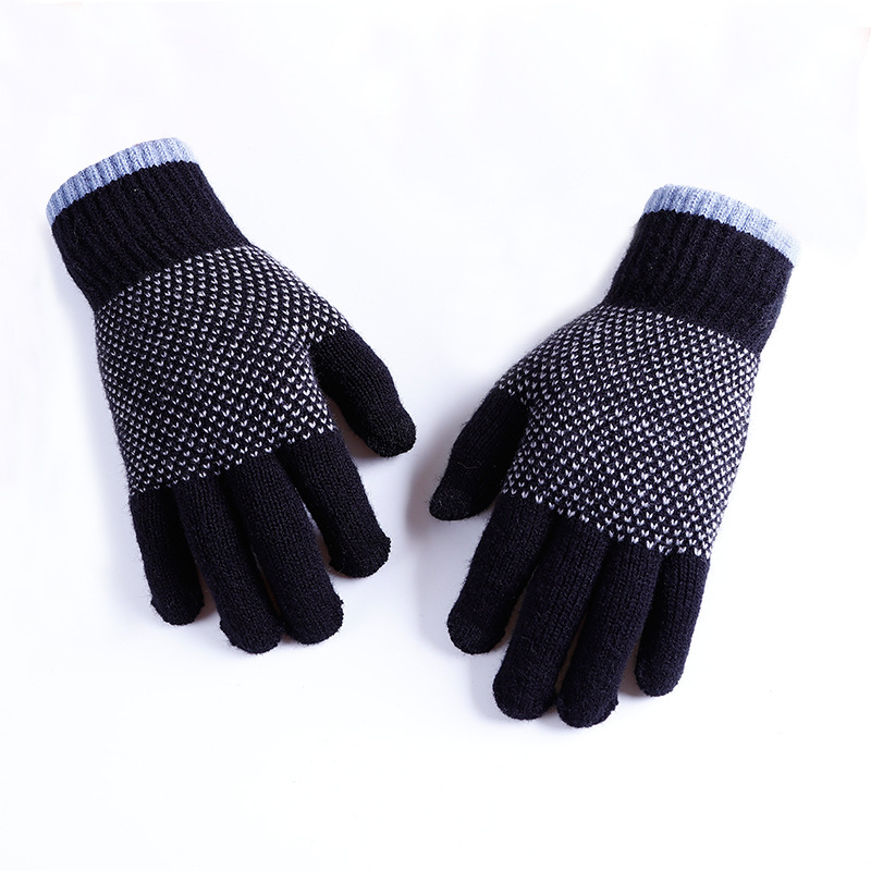 Winter Men Gloves Touch Screen High Quality Male Thicken Warm Imitation Cashmere  Full Finger Mitten AGL115