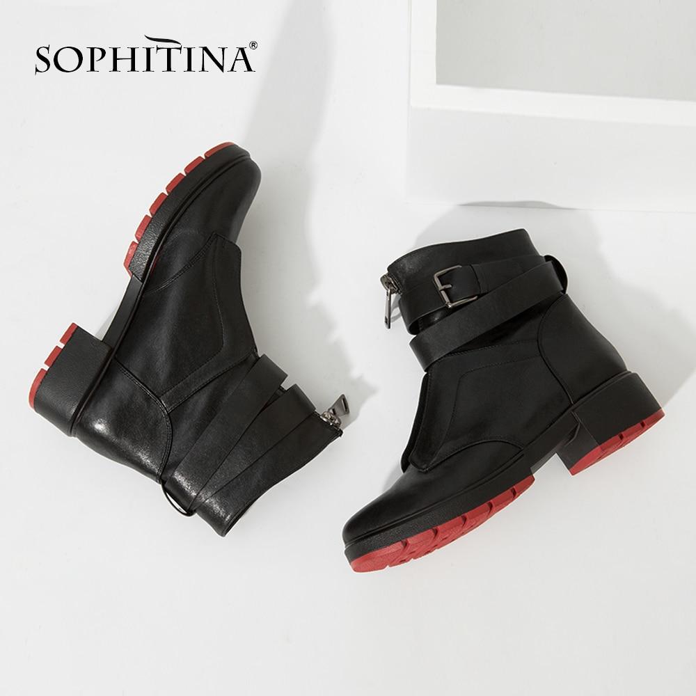 SOPHITINA จริง Sheepskin ผู้หญิงคลาสสิกรองเท้า Warm สั้นข้อเท้า Plush สแควร์ส้นรองเท้า Retro สายคล้องคอหญิงรองเท้า M46-ใน รองเท้าบูทหุ้มข้อ จาก รองเท้า บน   1