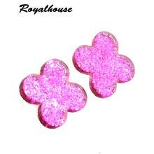Royalhouse Drop Flash Resin Earrings Clover Big Earring Large Brinco Ear Brand Earrings Accessories Oorbellen wedding earrings цена в Москве и Питере