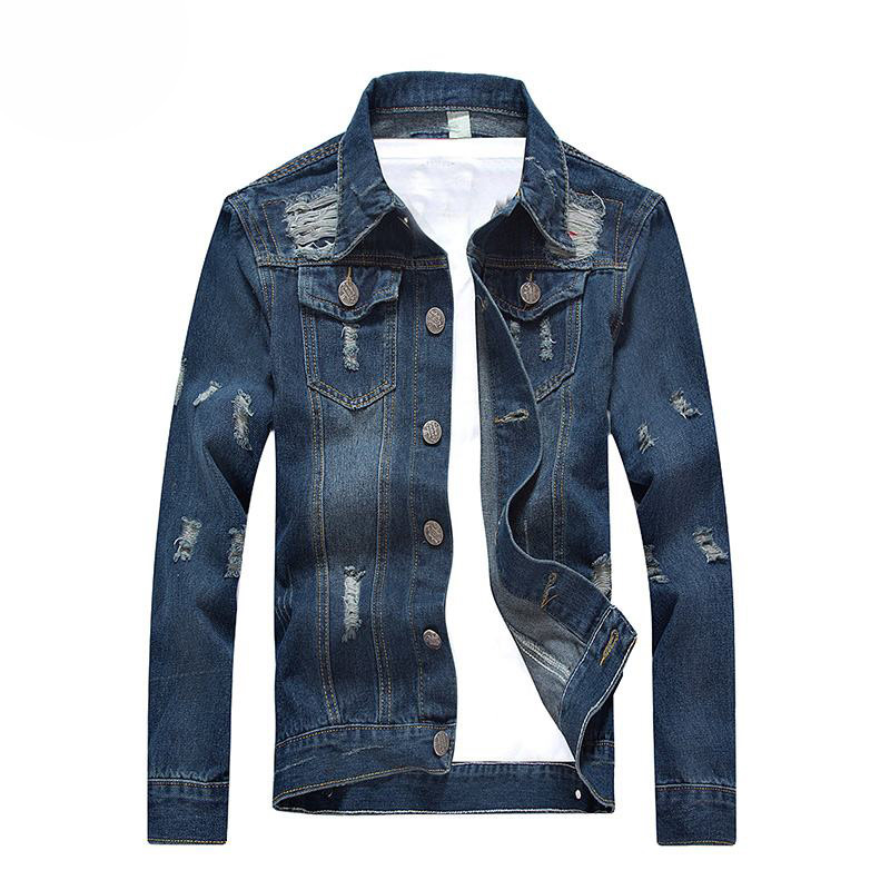Fashion 2018 Autumn Men Denim Jackets Mens Vintage-Distressed Hole Cowboy Jackets Mens Slim Clothing Jean-coats Plus Size 5XL