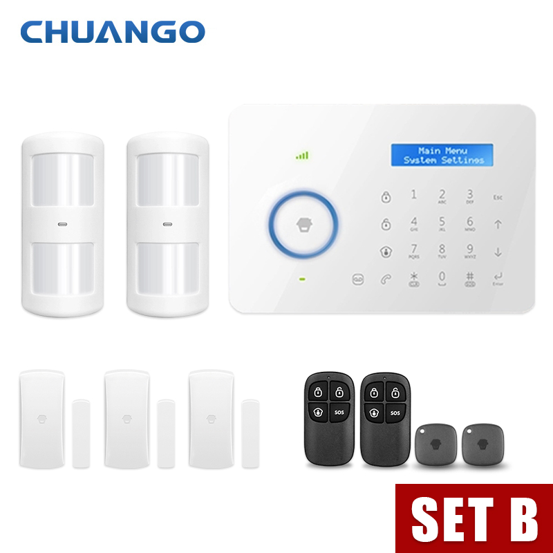 Chuango SMS GSM Home Burglar Security Alarm System PIR Motion Detector APP Control Sensor Alarm Smart Fire Smoke Detector Alarm 1set home security protection gsm sms wireless alarm system pir motion detector smoke alarm magnet door sensor wireless siren