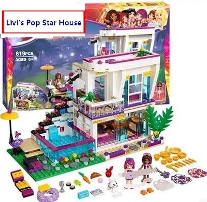 Compatible 41135 Friends series Livi's Pop Star House Building Blocks Emma Andrea mini-doll figures Kids Toys Best Gift