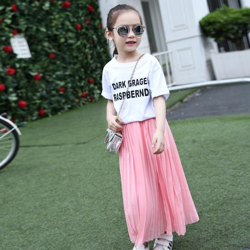 meninas saia longa criancas roupas criancas rosa 01
