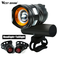 WEST BIKING Bicycle Waterproof T6 Handlebar Light USB Rechargable Adjustable Focus 1200 LM Bright Warning Taillamp