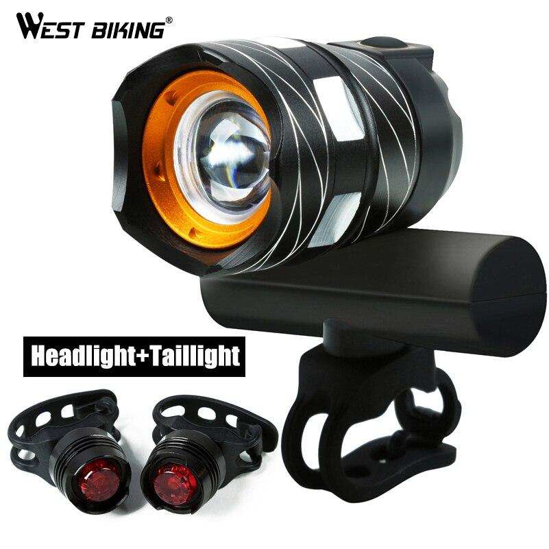 WEST BIKING Bicycle Waterproof T6 Handlebar Light USB Rechargable Adjustable Focus 1200 LM Bright Warning Taillamp Cycling Light