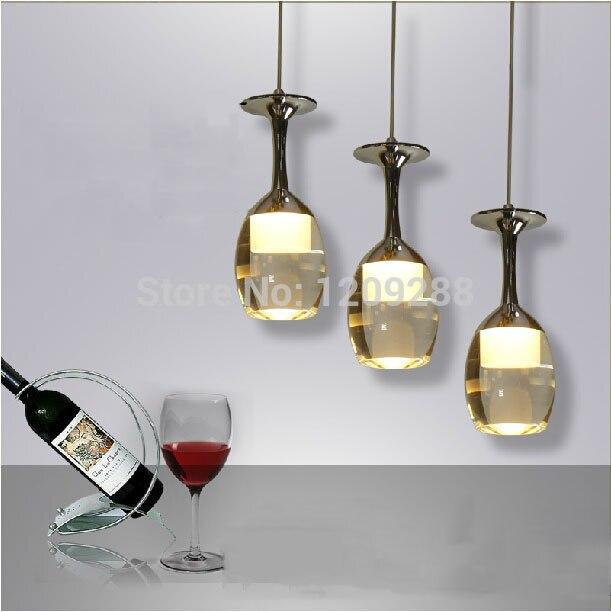 Mode créative verre de vin pendentif lamp1 acrylique lustre ligne led moderne restaurant phare dans lampes suspendues de lumières et éclairage sur