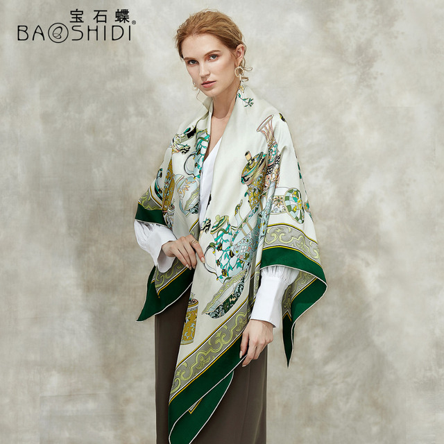 [BAOSHIDI] 100% di modo di seta sciarpa, 16 m/m di spessore, Infinity 132*132 cm Sciarpe delle donne, elegante di marca sciarpe, scialle delle signore, donna hijab