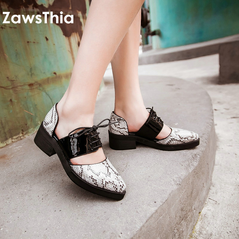 ZawsThia snake print pattern pointed toe lace up woman shoes fashion mary janes square med heels women shoes big size 45 46 47 chic fringed edge tartan pattern warmth big square pashmina for women