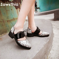 ZawsThia snake print pattern pointed toe lace up woman shoes fashion mary janes square med heels women shoes big size 45 46 47