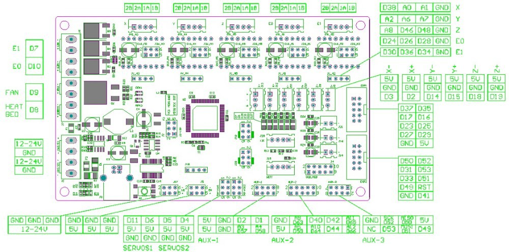 Free Shipping With 5pcs A4988 Mks Gen V1 4 Integrated Mainboard Compatible Ramps1 4  Mega2560 R3