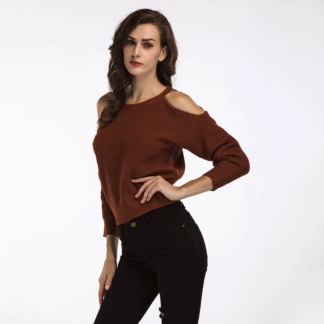 e929fc94d9 2018 Autumn Winter Sexy Women Off Shoulder Long Sleeve Pullovers Sweater  Knitted Casual Jumper Fashion Solid Skinny Slim Female
