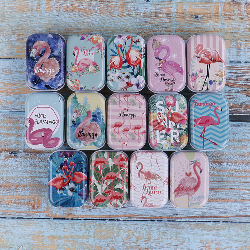 Mini Flamingo Metal Packing Tin Jar Boxes Portable Pill Box Case Small Medicine Case Cans Coin  Headphones Nail Travel Pill Box