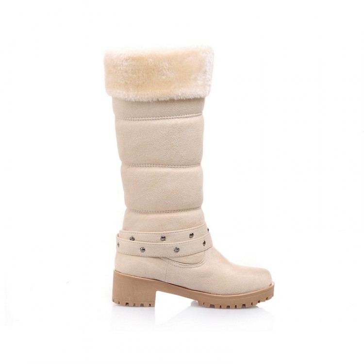 XJRHXJR Sweet Fur Warm Boots Women Knee High Snow Boots Fashion Buckle Long Boots Autumn Winter Plush Shoes Big Size 34-43