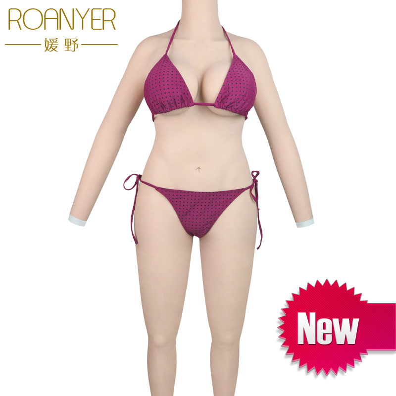 Roanyer silicone breast forms shemal whole body suits with arms transgender fake boobs penetrable vagina for crossdresser roanyer pant large size with fake penetrable vagina artificial realistic silicone fits crossdresser transgender transsexual