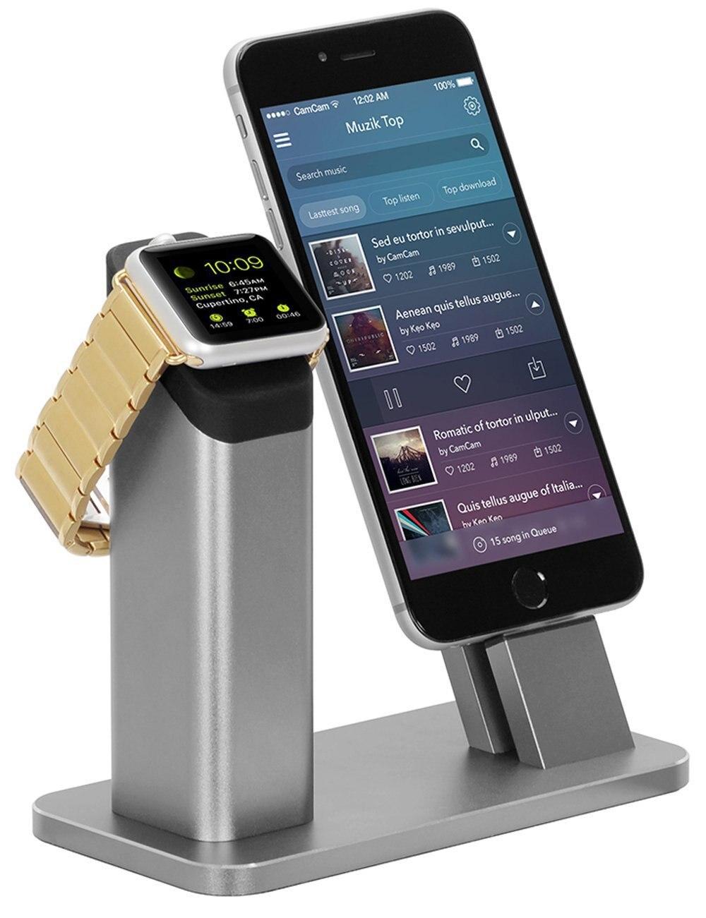 Apple Watch Series 2, Support de chargement en aluminium Station d'accueil-Support Apple Watch Mode table de chevet et iPhone 7/7 plus/Stent