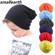 Новая детская хлопковая шапка, весенне-Осенняя детская шапка, шарф для мальчиков и девочек, Зимняя Повседневная вязаная шапка, теплые однотонные детские шапки с воротником
