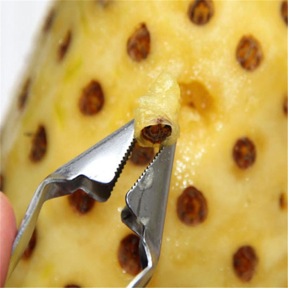 stainless steel kitchen utensil tools pineapple cutter eye seed remover peeler slicer fruit core tweezers home practical in Pineapple Slicers from Home Garden