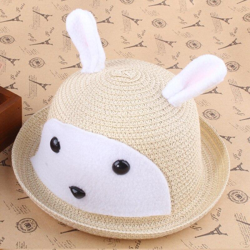 2015 new Korean children straw sun hat rabbit hat ...