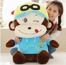 huge plush happy monkey doll The glad eye blue cloth monkey doll gift about 100cm