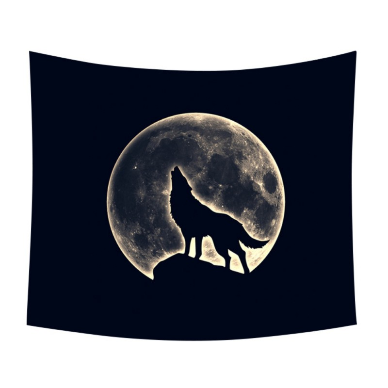 Wall Hanging Tapestrys Animal and Moon Tapestry Full Moon Light Night Scene Tapestry For Dorm Bedroom Living Room decor