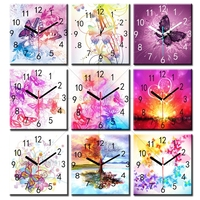 5d Diy Diamond Painting Flower Wall Stick Clock Diamond Embroidery Cross Stitch Wall Stick Diamond Mosaic