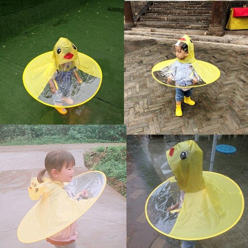 5dd383d8d63f2 Children S Raincoat Cute Yellow Duck Rain Coat UFO-Shaped Wearable Design Children  Umbrella Hat Magical