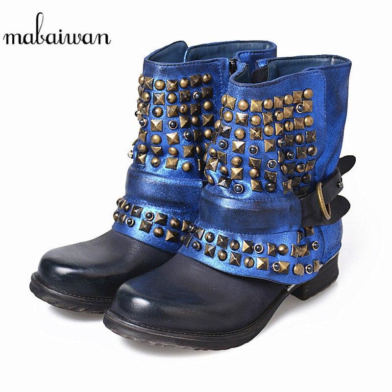 Mabaiwan новые модные Дизайн женская обувь из натуральной кожи синий Зимние Ботильоны Zapatos Mujer с заклепками женские туфли на плоской подошве Сап
